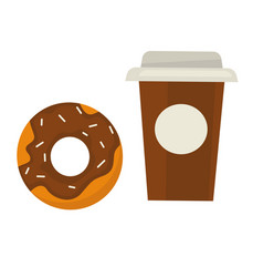 Chocolate donut with sprinkles and coffee in paper vector