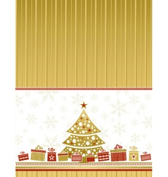 color christmas card with tree and gifts vector image