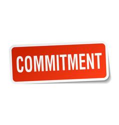 Commitment square sticker on white vector