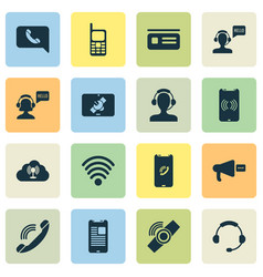 Connection icons set with tablet connection horn vector
