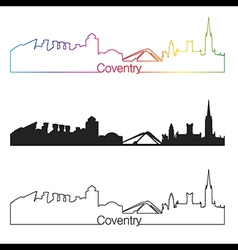 Coventry skyline linear style with rainbow vector image