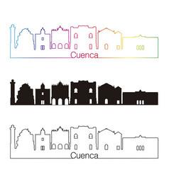 Cuenca skyline linear style with rainbow vector