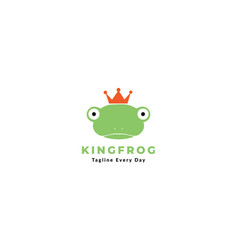 Cute head frog amphibians with crown king icon vector