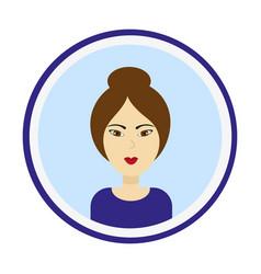 Cute woman portrait on blue background vector