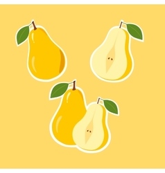 Design Stickers with Ripe Juicy Pear vector image