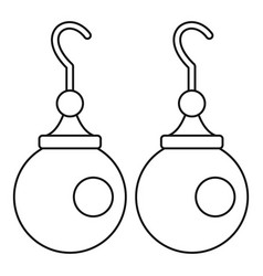 Earrings with pearls icon outline style vector
