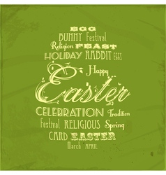 Easter distressed background on green vector