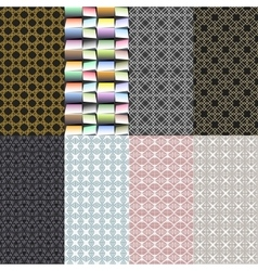 Eight geometric patterns Set of seamless vector image