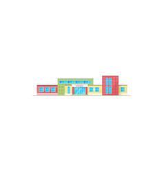 Elementary school building facade icon vector