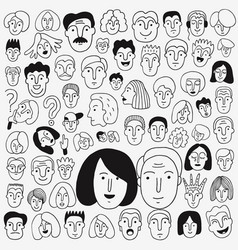 Faces of people - doodle set pencil drawings vector