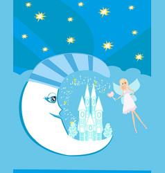 Fairy on moon vector