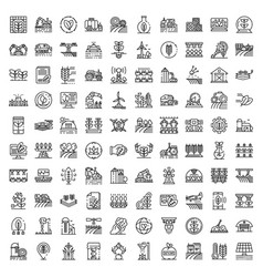Farming robot icons set outline style vector
