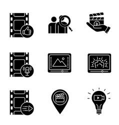 Film industry glyph icons set vector