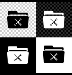 folder and tools or settings icon isolated on vector image