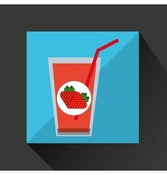 Fresh juice fresh strawberry and cup glass straw vector