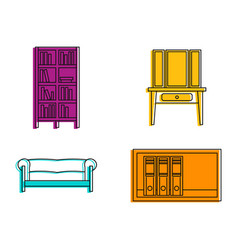Furniture icon set color outline style vector
