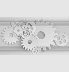 gears mechanism industrial grey background vector image