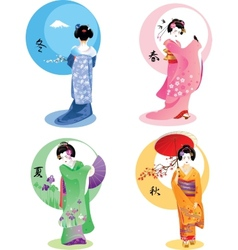 Geisha seasons set vector
