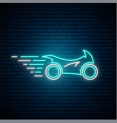 Glowing neon sport motorcycle sign bright glowing vector