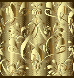 gold 3d baroque damask seamless pattern textured vector image