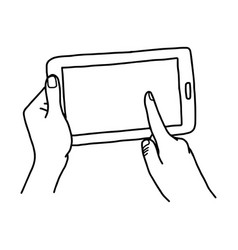 Hand using tablet with finger touching screen vector