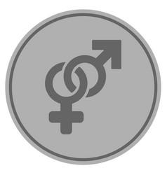 Heterosexual symbol silver coin vector