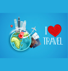 I love travel concept vector