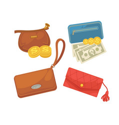 Icons set of wallets with money shopping vector