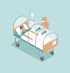 Infected patient lying in special capsule vector