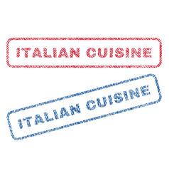 Italian cuisine textile stamps vector