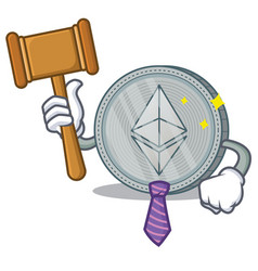 Judge ethereum coin character cartoon vector