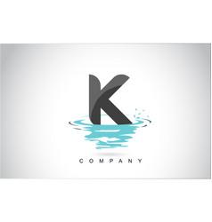 K letter logo design with water splash ripples vector