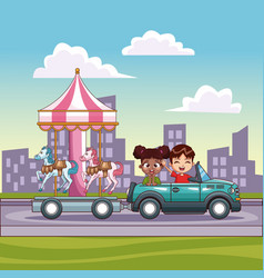 kids in car pushing carousel with carriage vector image