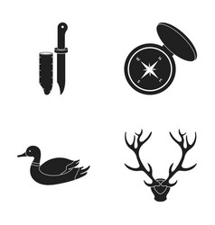 Knife with a cover a duck a deer horn a compass vector