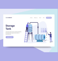 Landing page template oil storage tank vector