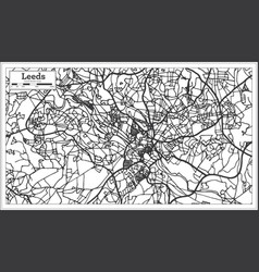 leeds england city map in retro style outline map vector image