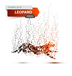 leopard in the jump - dot vector image