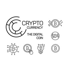 line bitcoin illstrations set on white background vector image