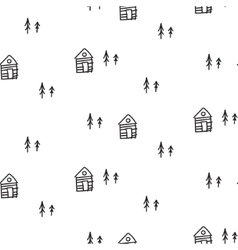 Line houses scandinavian ornament hand vector
