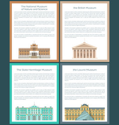 Louvre british state hermitage and national museum vector
