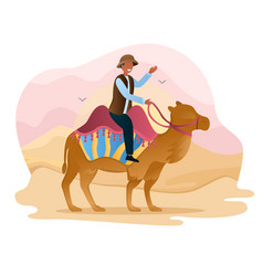 male character is offering to ride camels through vector image