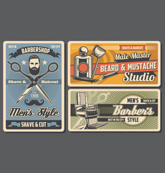 Men shave cut and trim barbershop salon vector