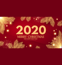 merry christmas and happy new 2020 year shining vector image
