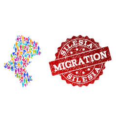 Migration collage of mosaic map of silesia vector