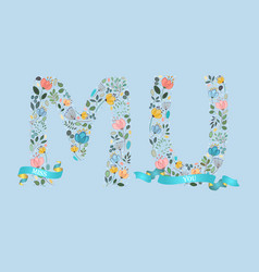 Miss you floral letters with blue ribbons vector
