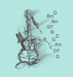 Musical background with guitar vector