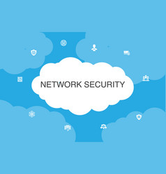 Network security infographic cloud design template vector
