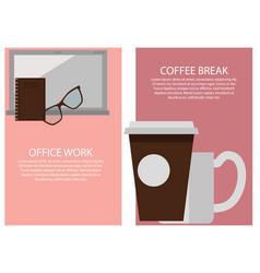 office work break collection vector image