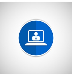 office work icon icon laptop isolated human vector image