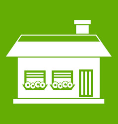 one storey house with two windows icon green vector image